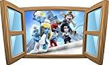 Stickersnews - Sticker enfant fenêtre Schtroumpfs réf 997 Dimensions - 80x48cm