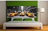 Stickersnews - Stickers Tête de lit déco chambre New York Taxi Dimensions - 200x78cm