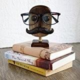 Store Indya, Porte lunettes decoratives Porte lunettes Porte affiches en bois avec Moustache (marron-moustache)