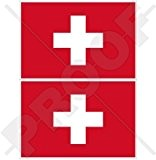 Suisse Drapeau Suisse Suisse, Schweiz 7,6cm (75mm) en vinyle Bumper Stickers, Stickers x2