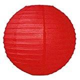 SUNBEAUTY lot de 5 20 cm lanterne chinois en papier de soie pour decoration mariage anniversaire naissance pâque baptême (rouge)