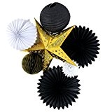 SUNBEAUTY Lot de 7 Etoile D'or Blanc Plissé Lampion Amateurs de Papier Nid D'abeille Balles pour Décoration Anniversaire ou Mariage