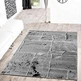 T&T Design Tapis moderne sol en pierre aspect marbre gris, gris, 120 x 170 cm