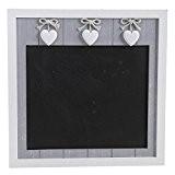 Tableau ardoise noire en bois avec cœurs 36 x 1,5 x 36