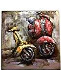 Tableau métallique Relief 3D / Décoration murale / Toile faite à la main damasquinage, soudure, peinture – Motif Vespa