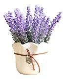 Tablette en céramique blanche Plante en pot artificielle Faux fleurs de lavande