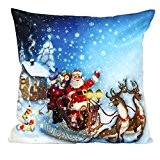 Taie d'oreiller de Noël, le Père Noël Canapé taille Throw Coussin Home Decor (O)