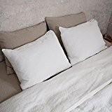 Taie d'oreiller LinenMe, 65x65 cm, en lin, blanc cassé