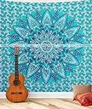 Taille Queen Turquoise Floral Bohème hippie Tapisserie Décoration murale murale à suspendre