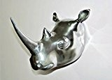 Taille réelle de taxidermie mural en métal murale Grande tête de rhinocéros Figurine-Animal-Rhinoceros imitation craftvatika (Finition Argent)