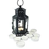 Tandi Lanterne en métal avec vitre en verre pour petites bougies chauffe-plats, noir, Noir