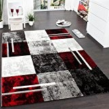 Tapis à Carreaux Rouge Noir, Dimension:160x230 cm