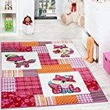 Tapis Chambre d'Enfant Moderne Motif Renards à Carreaux Multicolore Rose Crème, Dimension:80x150 cm