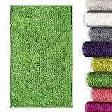 Tapis chenille salle de bain casa pura® absorbant doux et moelleux | 8 coloris au choix, vert -50x80cm