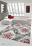 Tapis contemporain design Tapis Oriental avec Glitzergarn salon tapis avec des ornements et des fleurs en gris crème Rouge Rose ...