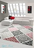 Tapis contemporain design Tapis Oriental avec Glitzergarn salon tapis avec ornements Heather Cream Beige Gris Anthracite Rose Größe 200 x ...
