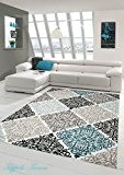 Tapis contemporain design Tapis Oriental avec Glitzergarn salon tapis avec ornements Heather Cream Beige Gris Anthracite Turquoise Größe 80x150 cm