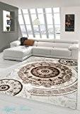 Tapis contemporain design Tapis Oriental avec tapis Glitzergarn salon avec des ornements circulaires orientaux classiques dans la crème Brown Beige ...