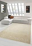 Tapis contemporain design Tapis Oriental avec tapis Glitzergarn salon avec motif floral Heather beige crème Größe 160x220 cm