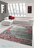 Tapis contemporain design Tapis Oriental avec tapis Glitzergarn salon avec motif floral Heather Gris Rouge Anthracite Größe 200x280 cm