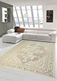 Tapis contemporain design Tapis Oriental salon tapis avec bordure à la crème Beige Größe 160x230 cm