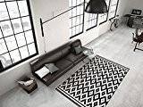Tapis Contemporain Pile Plate Conception Rugueuse Forme 3D Effet Noir Blanc - 120cm x 170cm