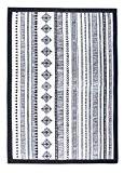 Tapis Coton aztèque, Noir et Blanc, géométrique, Navajo d'impression, bohème, Tribal, 100% coton, taille
