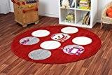 Tapis d'enfant rond Amis heureux filles poussins rouge rond, Choisissez une taille:120 cm rund