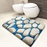 Tapis de bain casa pura® Patty bleu-blanc | ultra doux | tailles au choix | hauteur du poil env. 4,5cm ...