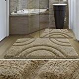 Tapis de bain de luxe casa pura® beige | très épais, doux, ultra absorbant et antidérapant | tailles au choix ...