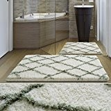 Tapis de bain de luxe casa pura® Ivoire et vert | très épais, doux, ultra absorbant et antidérapant | tailles ...