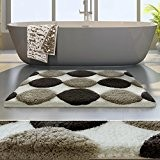 Tapis de bain de luxe casa pura® Marron et beige | très épais, doux, ultra absorbant et antidérapant | tailles ...
