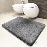 Tapis de bain gris clair   certifié Oeko-Tex 100 et lavable   poil très doux   plusieurs tailles au choix ...
