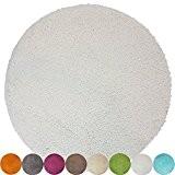 Tapis de bain rond Lasalle anti-glissant en blanc (diamètre 60 cm1200 g/m²) - Plusieurs couleurs au choix