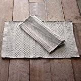 Tapis de Bain Tapis de Cuisine Shabby Chic et Romantique - Motif en Relief Géométrique - 55x85 - Gris clair ...