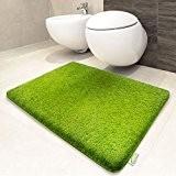 Tapis de bain vert | certifié Oeko-Tex 100 et lavable | poil très doux | plusieurs tailles au choix - ...