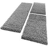 Tapis De Contour De Lit De Couloir Shaggy Poils Longs Gris 3 Pcs, Dimension:2x 60x100 / 1x 70x250 cm