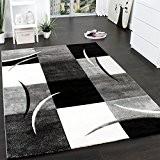 Tapis De Créateur Aux Contours Découpés à Carreaux En Blanc Noir, Dimension:60x110 cm