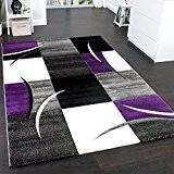 Tapis De Créateur Aux Contours Découpés à Carreaux En Purpre Violet Noir Crème, Dimension:60x110 cm