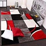 Tapis De Créateur Aux Contours Découpés à Carreaux En Rouge Noir Crème, Dimension:200x290 cm