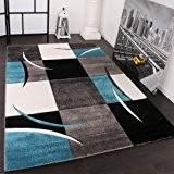 Tapis De Créateur Aux Contours Découpés à Carreaux En Turquoise Noir Crème, Dimension:60x110 cm
