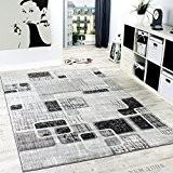 Tapis De Créateur Style Retro Shabby Chic à Carreaux Marbré En Gris Crème Noir , Dimension:80x150 cm