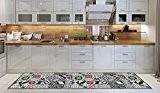 Tapis de cuisine, Lavable en machine, cuisine de tapis, 52cm x 180cm, anti-acariens, anti-dérapant, tapis de cuisine conception géométrique, 100% ...