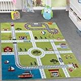 Tapis de jeu pour chambre d'enfant Motif ville portuaire Vert, 80x150 cm
