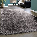 Tapis De Luxe Shaggy Unicolore Mèches Longues Soft Brillant Argenté Gris, Dimension:80x150 cm