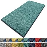 Tapis de passage poils longs casa pura® polypropylène, doux | couleurs et tailles au choix | Bali, 66x150 cm, Turquoise
