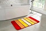 tapis de salle de bain | lavalble antidérapant | Tapis de bain 50 x 80 cm avec des rayures orange ...