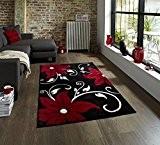 Tapis de salon design moderne Verona Noir/Rouge - 120 x 170