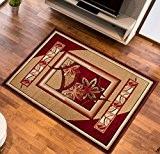 Tapis de Salon FLEURS Beiges et Rouge Design Moderne Différentes Dimensions S-XXL (70 x 130 cm)
