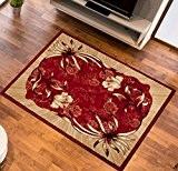 Tapis de Salon FLEURS Rouge Design Moderne Différentes Dimensions S-XXL (70 x 130 cm)